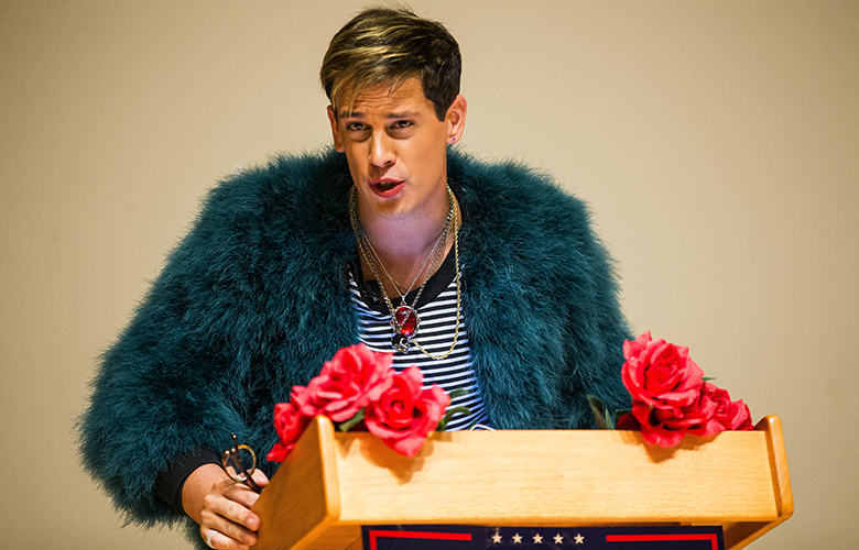 Controversial Breitbart News editor Milo Yiannopoulos was to speak at the University of Washington's Kane Hall Friday, January 20, 2016.