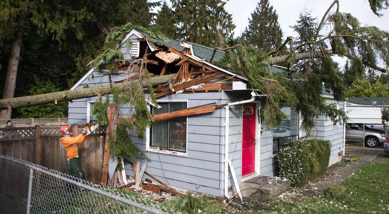 A home in the 6300 block of Cypress Street in Everett was damaged Friday morning. In Everett, a wind gust of 51 mph was recorded. (Mike Siegel/The Seattle Times)