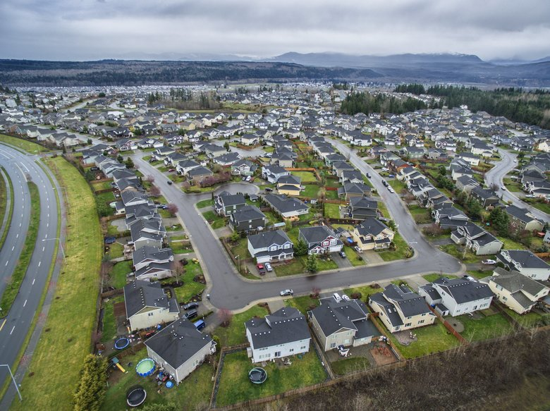 The Southwest Estates development in Puyallup in Pierce County. Pierce and Snohomish counties now lead the nation in domestic in-migration. (Steve Ringman/The Seattle Times)