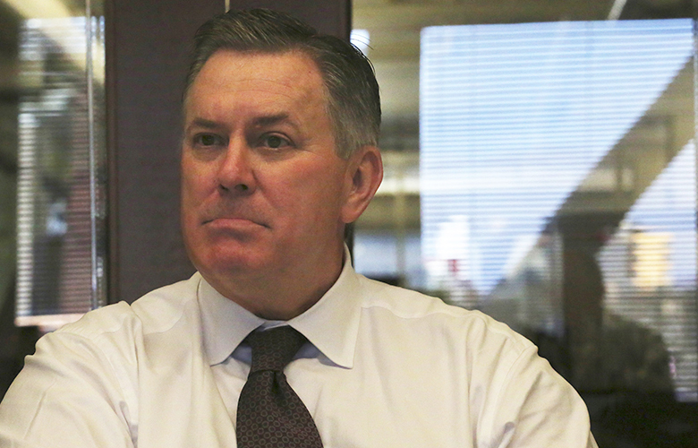 Timothy Leiweke, CEO of the Oak View Group, meets with Seattle Times writers and editorial board to discuss  KeyArena, Thursday, March 16, 2017.