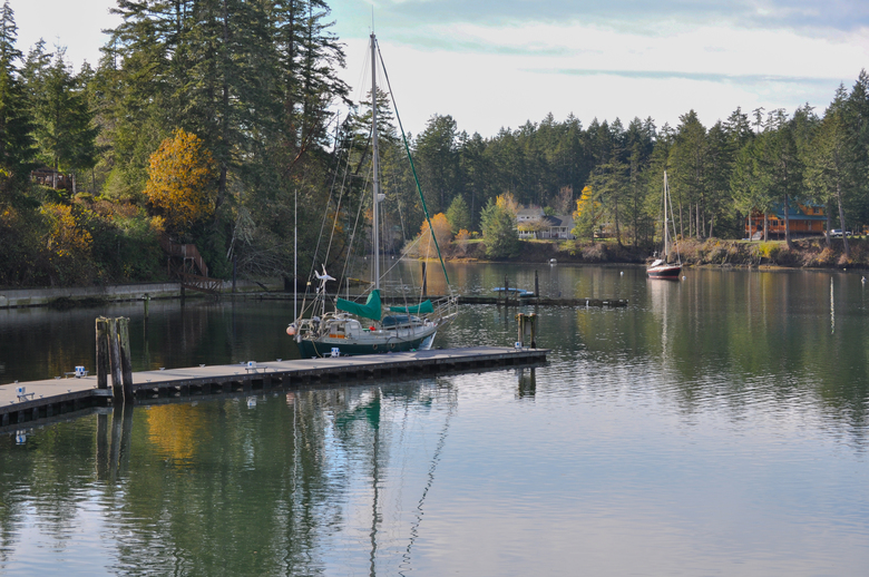 Sailboats moor at Jarrell Cove State Park at Harstine Island, in South Puget Sound. There is a bridge to the island, but many visitors arrive by boat. (Jeff Layton photo)