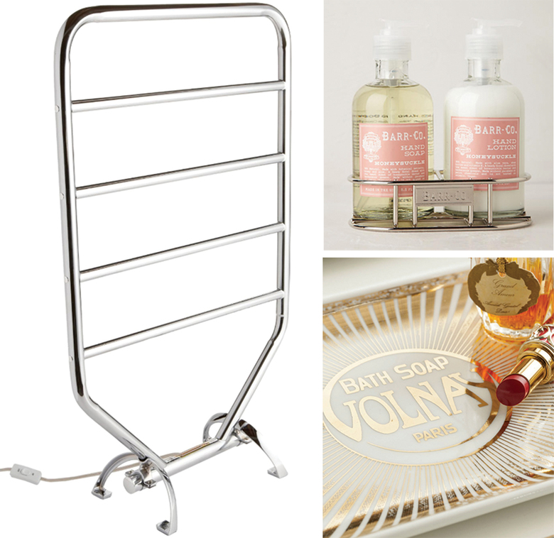 Clockwise from left: Jerdon Warmrails  Traditional Wall  Mounted/Free  Standing Towel  Warmer  Rack, $135 at wayfair.com; Barr-Co. Hand  Duo, $34 at anthropologie.com; and Rosanna Belle Boudoir Tray Volnay, $40 at rosannainc.com