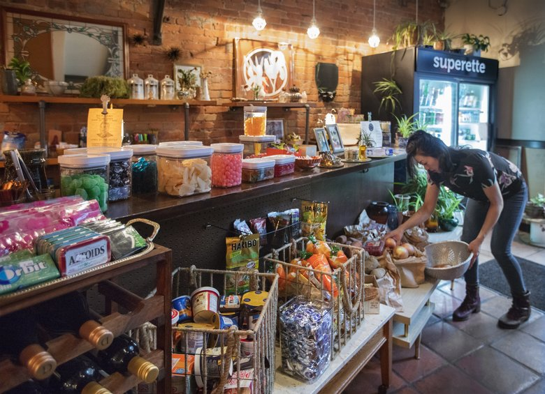 """Listening to her regulars, chef Una Kim added an """"in-a-pinch"""" corner store to her Pioneer Square restaurant, now called Pittsburgh Lunch and Superette. (Steve Ringman/The Seattle Times)"""
