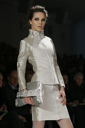 A models pauses on the runway during the presentation of Luca Luca's fall 2007 collection at the Bryant Park tents during Fashion Week in New York, Monday.
