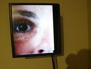 "About face ""House of Cards,"" a video/sound installation by Gary Hill, examines a face, moving from a tight image of the eyes, down to the mouth."