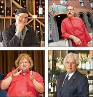 The Godfathers of Gourmet (clockwise, from lower left): restaurateurs Tom Douglas, Peter Lewis, Luigi DeNunzio and Luciano Bardinelli. The four are among the pillars and prime movers of the Seattle area's vibrant dining scene.