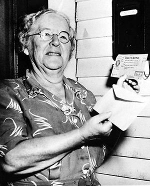 Ida M. Fuller, 76, of Ludlow Vt., was the first person to receive increased monthly benefits under a new Social Security law. In 1940, she received the first Old Age Insurance check from the government. Here, on Oct. 4, 1950, the retired bookkeeper holds a check for $41.30, an increase of $18.75 a month.