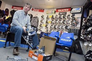 """Terry Bovair, a former professional hockey player who owns a sports store in Peterborough, Ontario, says Nike's high-end skates were poorly designed. """"It was a bad, bad launch."""""""
