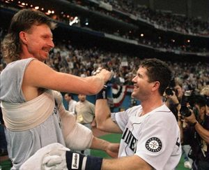 4f3a88f85a Randy Johnson, left, who announced his retirement Tuesday, and Edgar  Martinez celebrate the