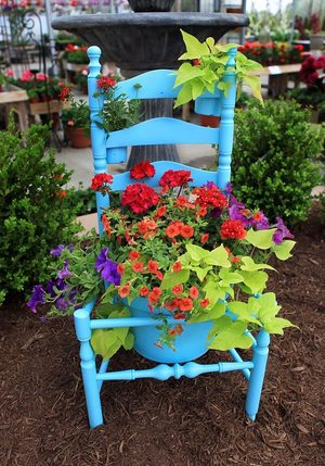 An old wooden chair can be repurposed for the garden.