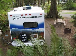 The author and his wife camped in their rented motorhome in Oregon state parks such as Fort Stevens State Park.