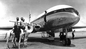 The de Havilland Comet, the world's first jet airliner, made in Great Britain, took the world by storm when it launched passenger service in May 1952. Here it is in Khartoum, Sudan, on its inaugural Africa run.