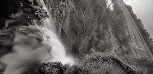 """""""Top of Multnomah Falls, OR"""" (2009) , archival carbon pigment print, 14.4 x 30 inches."""