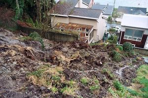 Mike Wayte's house, left, on Beach Drive Southwest in Seattle's Alki neighborhood, was protected by a retaining wall after a 2007 winter slide.