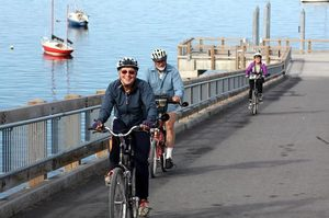 The Taylor Avenue dock is part of a popular route for cyclists and walkers on Bellingham Bay edging the historic Fairhaven district.