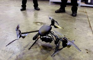 The Draganflyer X6 helicopter is small, weighing about 3-1/2 pounds, and is only 36 inches across.