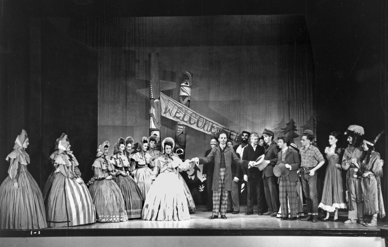 "THEN: Some of the 1946 cast for ""Calico Cargo"" face off at the Seattle Repertory Playhouse on University Way Northeast at Northeast 41st Street."