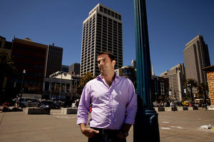 Chris Hansen built a career as a respected financial analyst, and in 2008 he founded the hedge fund Valiant Capital Management in San Francisco. Its offices are in Steuart Tower, seen in the background.
