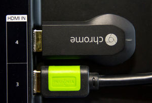 Google's Chromecast Internet television dongle plugs into an HDMI port  and can be powered by your TV's USB port or by plugging an adapter into the wall.