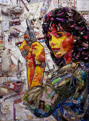 Jason Mecier asked actress Stepfanie Kramer for her junk to make this collage portrait of her.
