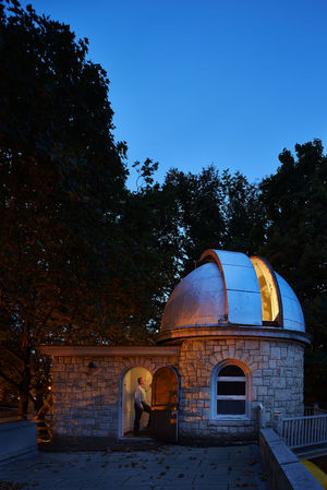 Mike Langley of the Seattle Astronomical Society readies the Jacobsen Observatory for a star party held every first and third Wednesday of the month, from April through October.