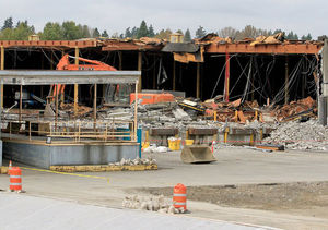 Buildings are being razed for the start of construction in the new Spring District, an urban village to take shape northeast of downtown Bellevue.