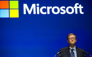 Microsoft Chairman Bill Gates pauses to collect his emotions Tuesday as he discusses how this shareholders meeting is the last one for CEO Steve Ballmer because of his plans to retire.