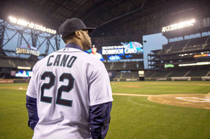 The Mariners played a video of Cano's highlights with music from his agent, Jay Z, as they introduced him.