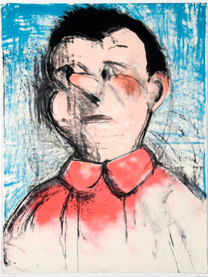 "Jim Dine's ""The Pink Nose"" (2009), woodcut with hand-coloring, part of   ""Jim Dine: A Life in Printmaking,"" the last show at Wright Exhibition Space."