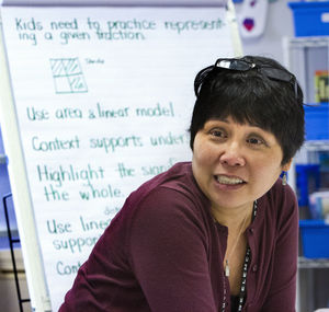 Math coach Teresa Lind says the adjustments teachers made could compare to lifelong golfers learning a new way to swing.