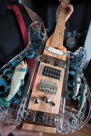 A   playable and smokable glass guitar, one of which was recently purchased as a gift for Joe Walsh of the Eagles,   sells for $20,000 at Sasquatch Glass.