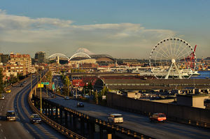 The planned removal of the viaduct will reconnect Seattle's waterfront, as seen recently from Victor Steinbrueck Park, with the Pike Place Market and other downtown neighborhoods.
