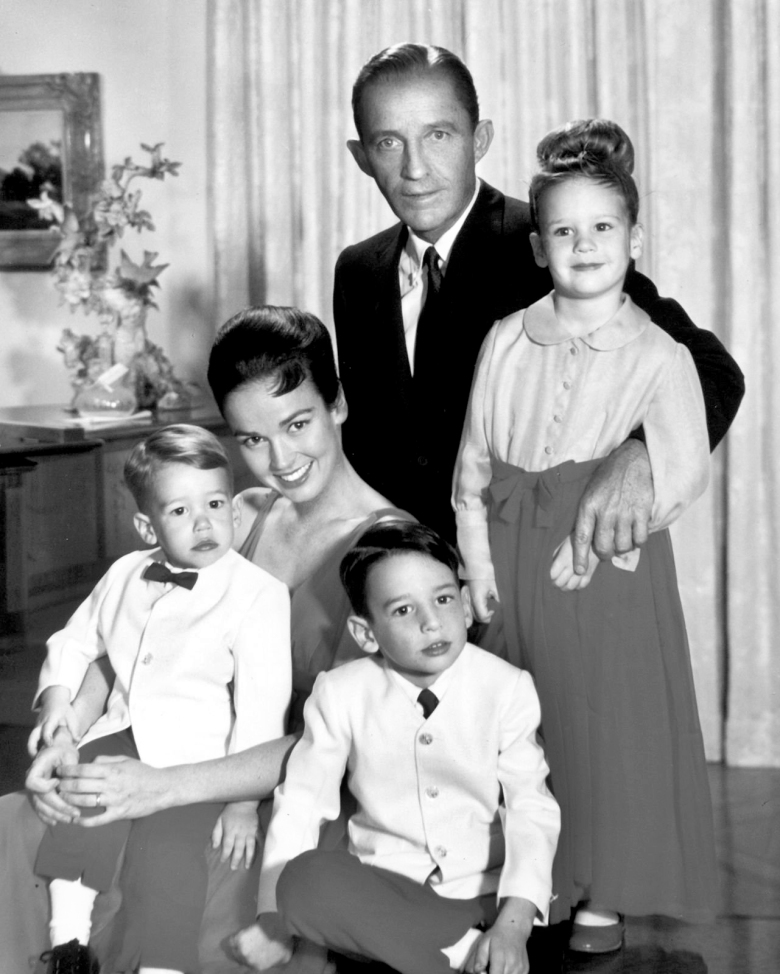 "This photo provided by PBS and Courtesy of Bing Crosby Enterprises shows, clockwise from top, Bing Crosby with his children Mary, Harry and Nathaniel, and second wife Kathryn. ""American Masters: Bing Crosby Rediscovered"" premieres on Tuesday, Dec. 2, 2014 at 8 p.m. PT/ET (check local listings) on PBS. (AP Photo/PBS, Courtesy Bing Crosby Enterprises) CAET477"