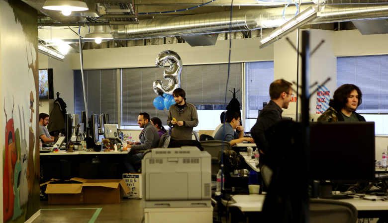 Facebook started out in Seattle with a small engineering office that  now employs 500. It is moving into a Frank Gehry designed building with room for 2,000 workers. (Ken Lambert/The Seattle Times)