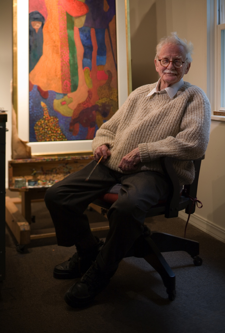 At 89, Bill Cumming, rancher, former communist and a member of the famed Northwest School of artists dating back to the 1930s, was still painting and teaching and has no plans to retire, in 2006. His wife, Dena Lee-Cumming, 55, was his model in the 1970s. Bill Cummings passed away in 2010. (Benjamin Benschneider / The Seattle Times)