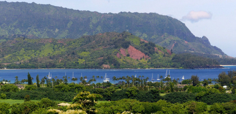 A roadside viewpoint offers this look at Hanalei Bay. The area has served as a tropical locale in numerous motion pictures. (Brian J. Cantwell / The Seattle Times)