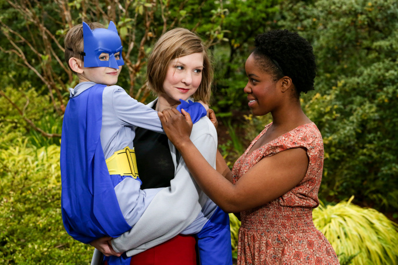 Jonah Kowal as Charlie, left, Sydney Andrews as Sarah and Claudine Mboligikpelani Nako as Little Bee.