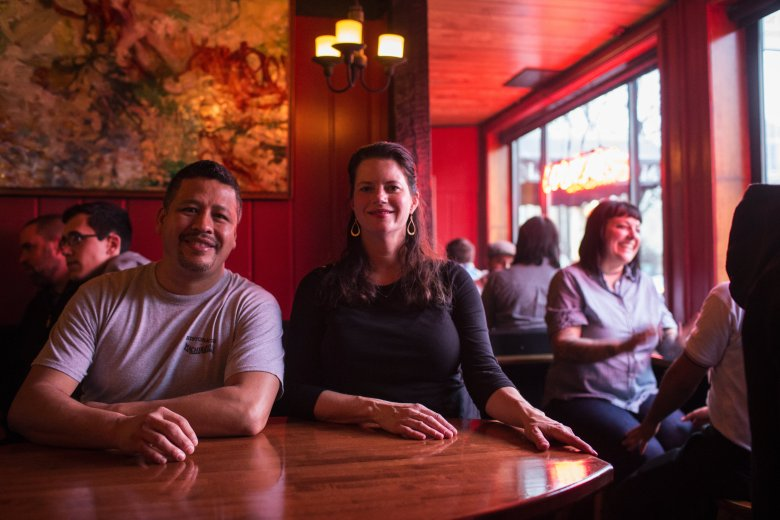 Javier Arevalo and Suzette Jarding, who have worked at Ristorante Machiavelli since 1999, became business partners with the original owners in 2007 and purchased the restaurant in 2013. Machiavelli has been on the corner of Melrose Avenue and Pine Street on Capitol Hill for 27 years. (John Lok/The Seattle Times)