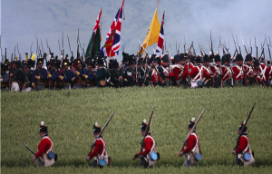 WATERLOO, BELGIUM – JUNE 19:  Historical re-enactors take part in the first part of a large scale re-enactment of the battle of Waterloo, to mark it's bicentenary on June 19, 2015 in Waterloo, Belgium. Around 5000 historical re-enactors will amass over two evenings to re-enact the two stages of the battle in front of around 200,000 spectators from around the world. The first evening will see the 'French Attack', followed tomorrow by the 'The Allied Counter attack'. The events will mark the battle of 1815 which saw the overthrow of Napoleon Bonaparte and the restoration of Louis XVIII to the French throne.  (Photo by Carl Court/Getty Images)