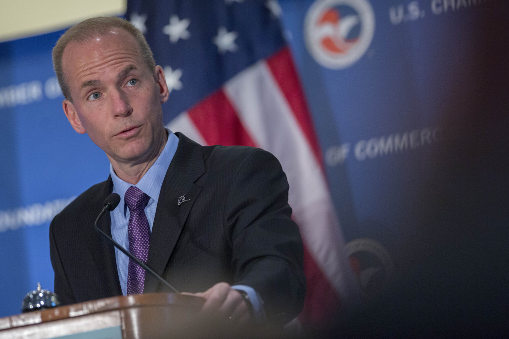 Dennis Muilenburg, vice chairman, president and chief operating officer of the Boeing Co., speaks at the U.S. Chamber of Commerce Foundation's 13th annual Aviation Summit in Washington, D.C., U.S., on Thursday, April 3, 2014. (Andrew Harrer / Bloomberg)