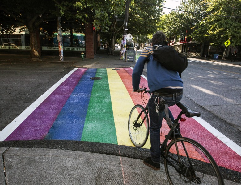 """This is a city of very diverse neighborhoods throughout with different character,"" Mayor Ed Murray said about the new rainbow sidewalks on Capitol Hill. (Steve Ringman/The Seattle Times)"