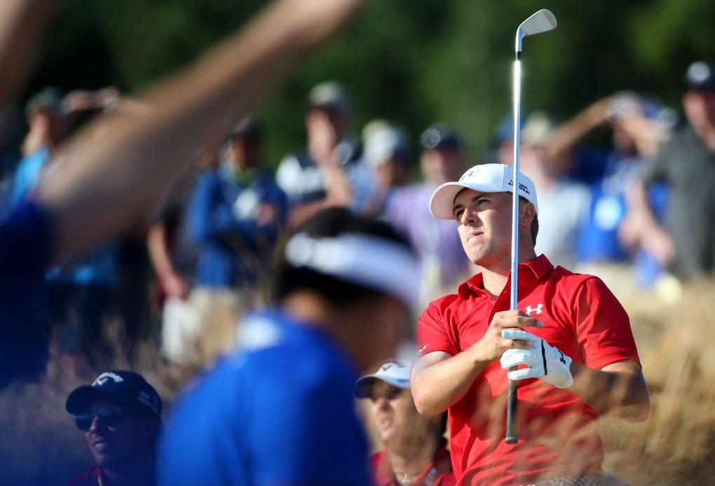Jordan Spieth watches his tee shot on the 15th hole. during the third round of the U.S. Spieth was at 7 under at one point Saturday but settled for a 1-over 71. (Lindsey Wasson/The Seattle Times)