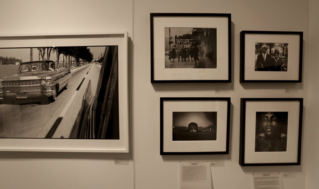 Gordon Parks' black and white photographs are displayed in the Jenkins Johnson Gallery space at the Seattle Art Fair.  The gallery is in San Francisco. (Alan Berner / The Seattle Times)