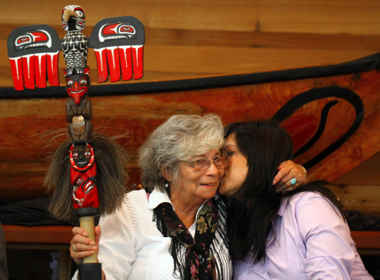 Cecile Hansen, left, Duwamish chairwoman, hugs daughter Jolene Haas Wednesday at the Duwamish Longhouse.  (John Lok/The Seattle Times)
