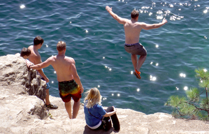 Jumping from the rocks at Tubbs Hill in Coeur d'Alene, Idaho. (Josh Noel/Chicago Tribune)