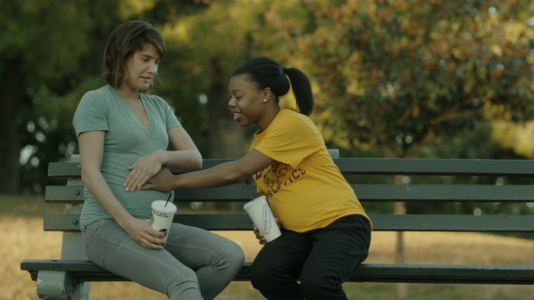 """""""Unexpected,"""" starring Cobie Smulders, left, as a high-school teacher and Gail Bean as one of her students, tells the story of two women's very different experiences with being pregnant."""