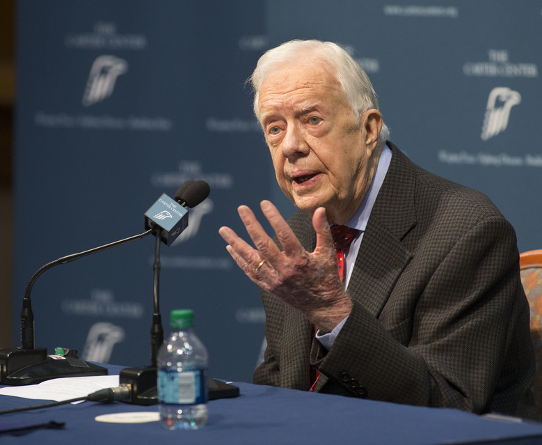 "Former President Jimmy Carter talks about his cancer diagnosis during a news conference at The Carter Center in Atlanta on Thursday, Aug. 20, 2015. Carter announced that his cancer is on four small spots on his brain and he will immediately begin radiation treatment, saying he is ""at ease with whatever comes."" (AP Photo/Phil Skinner)"
