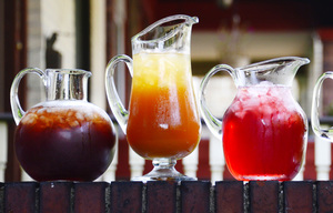Iced Teas, from left, Blueberry, Peach, Boston Iced Tea, Green Iced Tea and Lemon Iced Tea. (Darrell Sapp/Pittsburgh Post-Gazette/TNS)