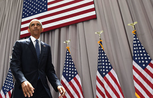 President Barack Obama walks off of the stage after speaking about the nuclear deal reached with Iran during an event at American University in Washington, Wednesday, Aug. 5, 2015. (AP Photo/Susan Walsh)