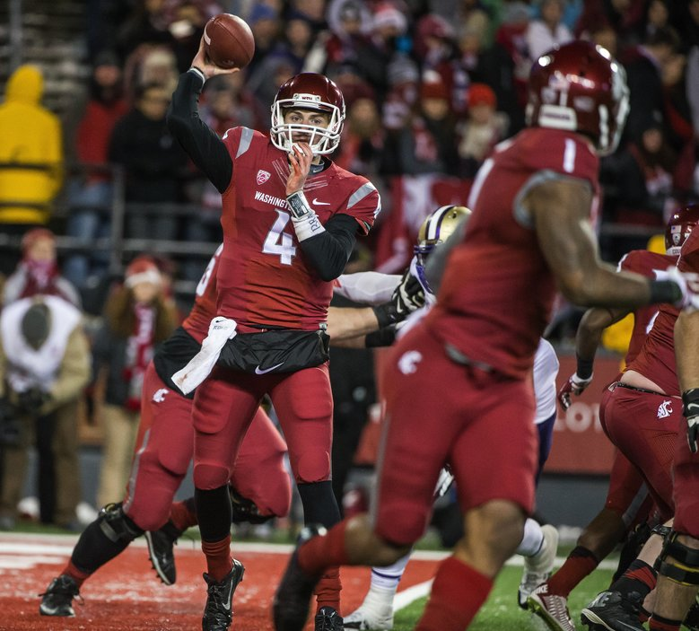 "Luke Falk has won over his teammates. ""He's the kind of person you want to be your quarterback,"" said lineman Gunnar Eklund. (DEAN RUTZ/The Seattle Times)"